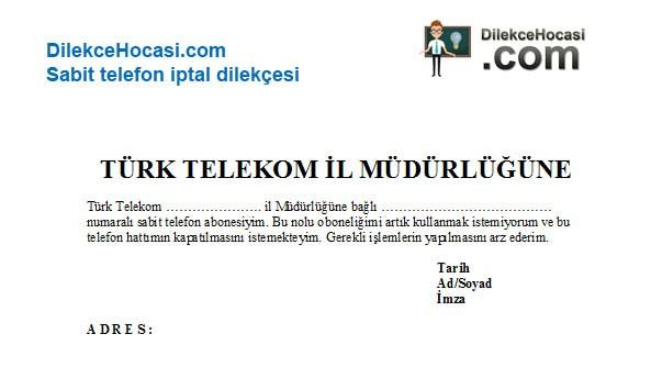 Türk telekom Sabit telefon iptal dilekçesi