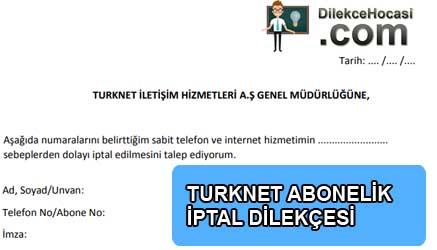 Turknet abonelik iptali dilekçesi